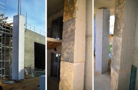 Zwei Sorten Naturstein hat der Architekt verwendet: den Kalkstein Pompignan, der ganz in der Nähe gewonnen wird, und den Granit du Tarn aus der Region Sidobre in etwa 100 km Entfernung.