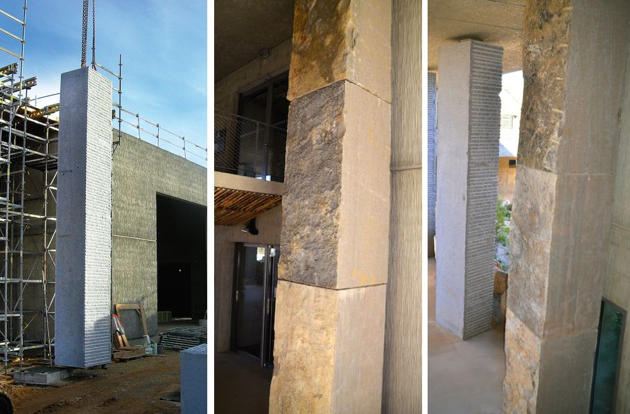 Zwei Sorten Naturstein Hat Der Architekt Verwendet Den Kalkstein