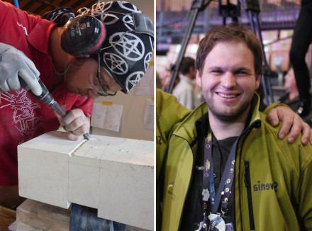 Two silver medals for stonemasonry: Jeremia Bruckbauer of Austria (left) and Leon Mahnič (right) of Slovenia. Photo: EuroSkills / private