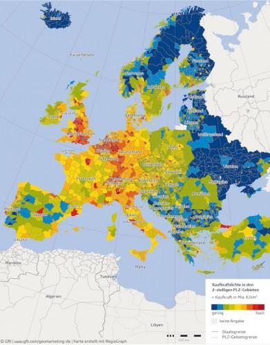 Kaufkraftdichte in Europa.
