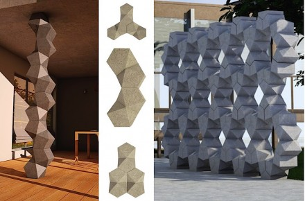 "Manuel Bernardini, Nadal Loïc: ""Exagon"". This multi-faceted element allows assembly of walls and pillars in a multitude of ways."