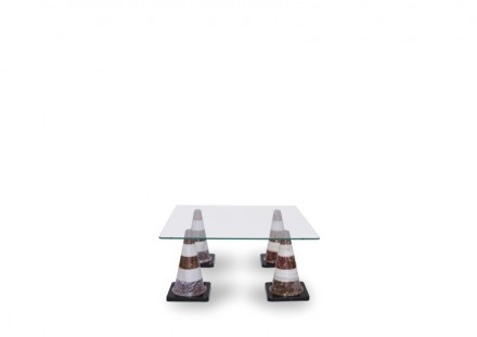 "Studio Job: ""Detour"" (Table, 113 x 113 x 41cm, Black, Red, White Marble and Glass)."