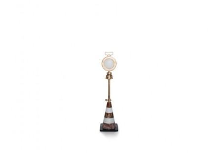 "Studio Job: ""Detour"" (Floor Lamp, 27 x 27 x 84/105cm, Black and Red Marble, White Cristallina, Bronze and LED light Fitting)."