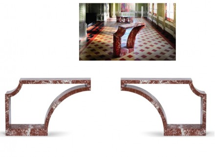 """Palais"" Console: Red marble, L 120 x H 80 x P 30 cm,Limited edition."