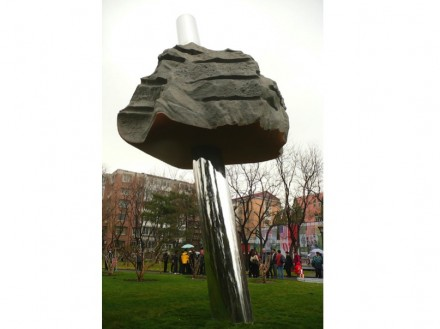 "Jon Barlow Hudson: ""Cloud & Rain"". Stainless steel & stone, 15' hi. Commissioned for the China-U.S. Peace & Friendship Program. Installed in Wanshou Park, Beijing, China."