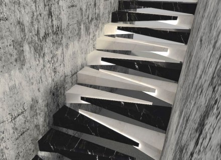 "1. Prize, Professional category: ""Tırnak"", Salih Saygın DEREN. Stairwell with unusual steps."