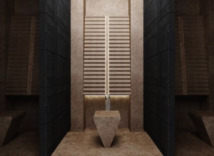 "2. Prize, Students' category: ""Kaynak"", Ufuk PEHLIVAN. Prayer-room for a shopping center or hotel: ritual washing area."
