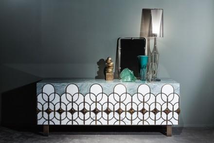 "Citco-Privé: ""Isadora"". Product: cabinet. Measures: 233x89hx50d cm. Material: Bianco Statuario, Verde Antigua, Occhio di Tigre, satin brass outlines."