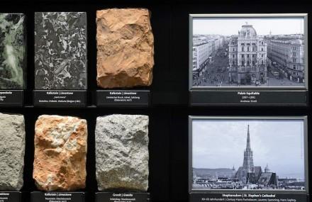 Die Ausstellung des Naturhistorischen Museums zu Bau-, Dekor- und Ziergesteinen. Foto: Naturhistorisches Museum / Kurt Kracher