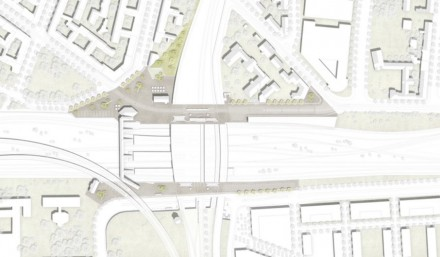 Gesamtkonzept der Vorplätze am Bahnhof Ostkreuz. Dunkel die Flächen mit Kleinpflaster.