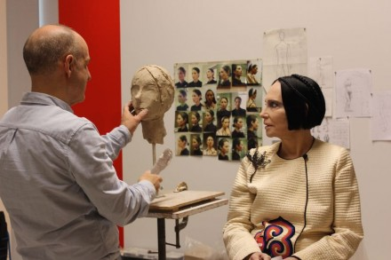Michael Evert sculpting Mary McFadden on April 23, 2015. Image courtesy of the Museum of Arts and Design.
