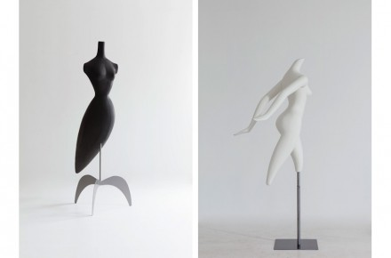 "Left: ""Birdland"", 1988. Ruben Toledo, designer. Pucci Mannequins, fabricator. Fiberglass, 74 x 28 x 34 in. (188 x 71.1 x 86.4 cm). Right: ""Movement"", 1993, Ruben Toledo, designer. Pucci Mannequins, fabricator. Fiberglass, 69 x 28 x 27 in. (175.3 x 71.1 x 68.6 cm). Collection of Ralph Pucci. Photo: Antoine Bootz"