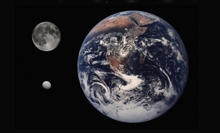 Earth, Moon and Ceres (left below) in size comparison. Source: CWitte / Wikimedia Commons