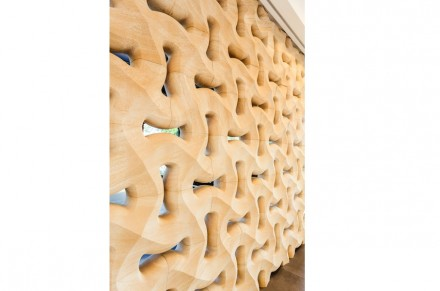"The interior stone wall was produced under the product name ""Traccia"" by Italian-based Lithos Design."