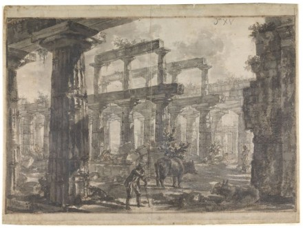 Interior of the Temple of Neptune from the North-East, 1777. Pencil, brown and grey washes, red chalk, pen and ink. Sir John Soane's Museum.
