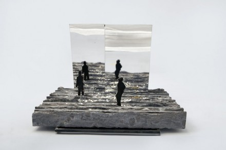 """The Garden of Plenty"". Offering gratitude. 22x35x3 cm. Palissandro Nero, mill finish, iron, rice, mirror."