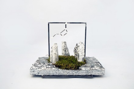 """The Garden of Mystery"". Ancestral signs. Imagine the unimaginable and make it possible. 22x35x3 cm. Serizzo Antigorio, Marmo Palissandro Bianco, natural split finish, iron, moss."