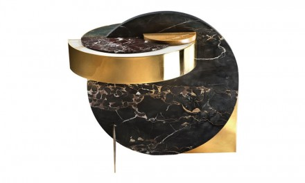 "Lara Bohinc, Lapicida: ""Full Moon"", side table. Dimensions: L650 x W650 x H600mm. Price from: £11,250. Marbles featured: Black & Gold, Verdi Guatemala, Picasso, Calacatta, Red Wine."