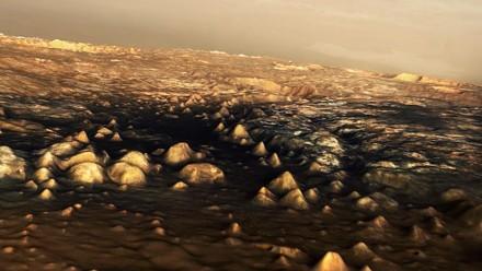 Szene aus dem Marshochland, wie ein Astronaut es in Wirklichkeit sehen würde. Bild: DLR
