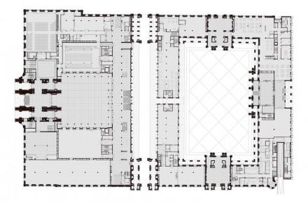 Das Schloss - Humboldtforum. Rechts: die Ostseite mit der modernen Fassade, links davon der Schlüterhof mit den Portalen I (unten) und V (oben). In der Mitte die Passage, die Tag und Nacht geöffnet sein wird.