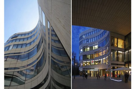 The reference to surroundings also defines the other two sides: lines are full of energy like the nearby theater. Photo: (left) Murphy Facade Studio, (right) Kirscher Fotografie