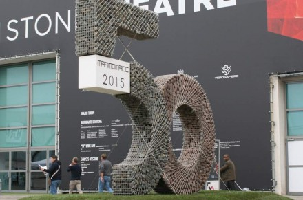 """Gabion-specialist Zanettin Company was not to be overlooked at this year's Marmomacc: The Italian-based company had constructed a huge """"50"""" in stainless steel cages filled with limestone and behind the numbers lof the jubilee of the fair. Photo: Peter Becker"""