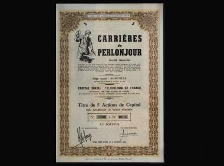 Aktie der französischen Firma Carrières du Perlonjour (1913).