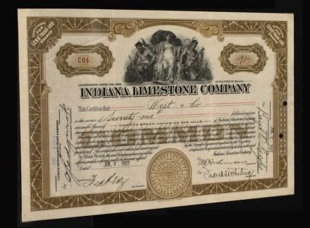 Aktie der US-Firma Indiana Limestone (1927).