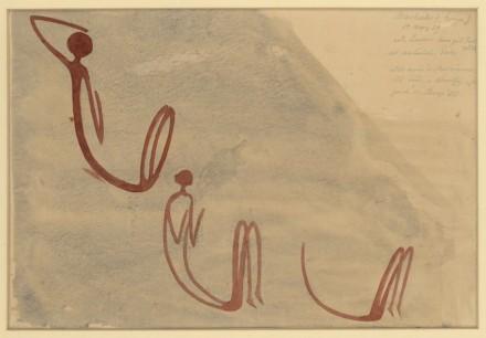 """""""Drei hockende Gestalten"""". Simbabwe, Macheke 8000-2000 v.Chr., Aquarell von Leo Frobenius, 1929, 31 x 44 cm."""