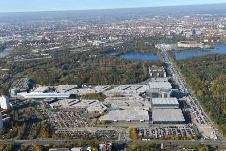 Aerial view of the Nuremberg fairground. Photo taken in 2014 by NürnbergMesse / Bischof & Broel