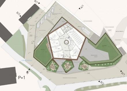 O prédio em si também tem a forma de um pentágono. Fonte: Grassi Pietre