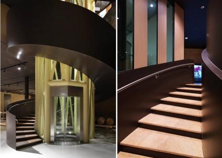 O centro da construção é uma escada de ferro que liga os dois andares.