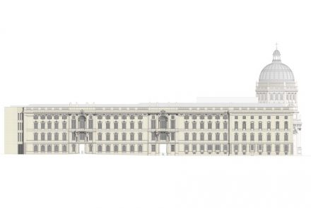 Die Lustgartenfassade. Rendering: Stiftung Berliner Schloss – Humboldtforum / Architekt: Franco Stella mit FS HUF PG