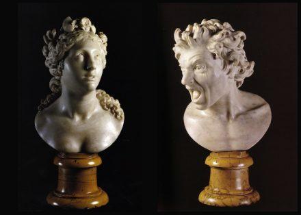 "Gian Lorenzo Bernini: ""Anima beata"" (left), ""Anima dannata"" (right). Source: Wikimedia Commons"