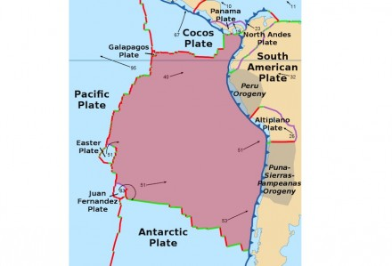 The Nazca plate (rose) subducting under the South American plate (right). The numbers give the velocity of the plates in mm per year. Chart: Alataristarion / Wikimedia Commons