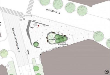 A composição da praça esteve sob os cuidados do escritório de arquitetura Grindaker Landskapsarkitekter.