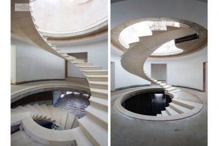 the company webb yates engineers escaleras de piedra natural flotantes con un giro