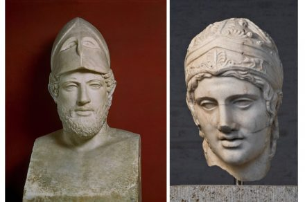 "Roman copies of Greek originals: (left) Perikles. Tivoli marble, height 183 cm. Musei Vaticani, Vatikanstadt. Photo Scala, Florence. (right) Head of a marble statue of Ares (""Ares Borghese""). Marble, height 37 cm. Staatliche Antikensammlungen und Glyptothek München. Photo: Staatliche Antikensammlungen und Glyptothek München, Renate Kühling"