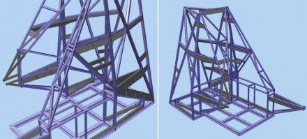 Rodney Leon ha compuesto las dos paredes de los lados a partir de triángulos de mármol de distinto tamaño, colocados sobre un suporte de acero.
