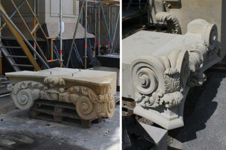 Sandsteinelemente warten auf den Einbau in die neu entstehende historische Fassade.