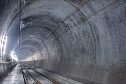 Blick in die Oströhre des Gotthard-Basistunnels. Quelle: Transtec Gotthard