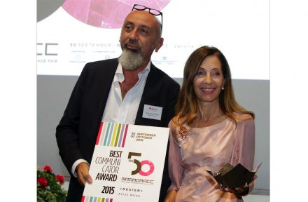 Alessandra Malagoli Budri, Marco Budri: Marmomacc Best Communicator Award 2015. Foto: Ennevi / Veronafiere