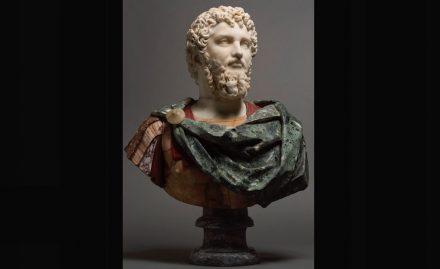 Kopf des Septimus Severus mit Büste aus späterer Zeit mit verschiedenen Sorten Buntmarmor. Foto: Staatliche Kunstsammlungen Dresden / Adrian Sauer