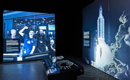 Die Ausstellung zeigt die Etappen der Kometenmission Rosetta.