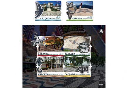 Selos do ano 2016 mostrando a Calçada Portuguesa.