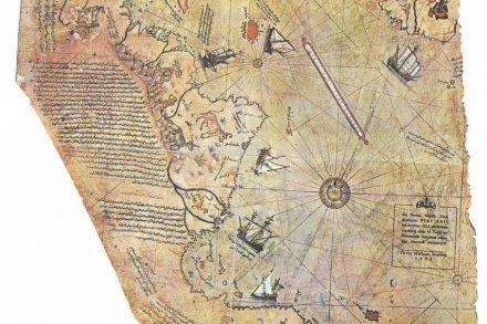 Detail of Piri Reis' original nautical map. Source: Wikimedia Commons