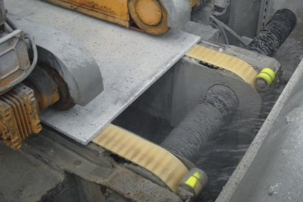 Conveyor belts (yellow) in action. Photos: Habasit