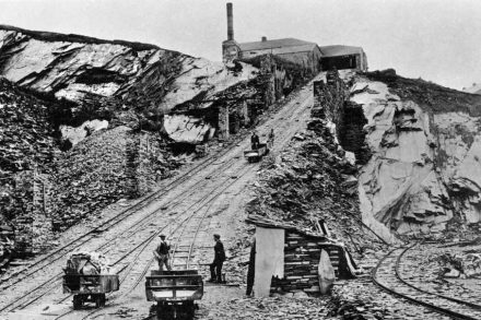 The floor 5 incline at Llechwedd, Ffestiniog in the days of steam power. By permission of Gwynedd Archive Service