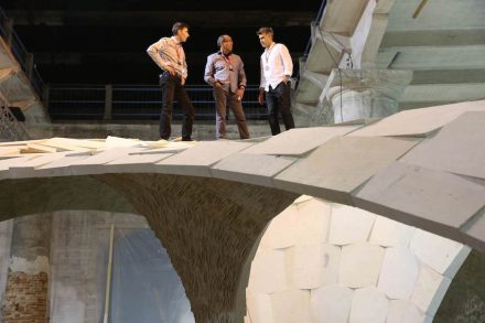 Self-experiment on the Armadillo Vault: (from left to right): Matt Escobedo (General Manager of ESCOBEDO, and also David's son), David Escobedo (owner of ESCOBEDO GROUP) and Alejandro Aravena (curator of the La Biennale).  Philippe Block does not appear in that photo - maybe he was behind the camera.