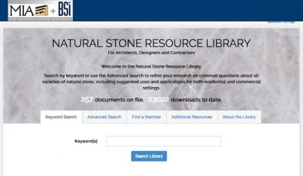 Online since 2015: the Natural Stone Resource Library.